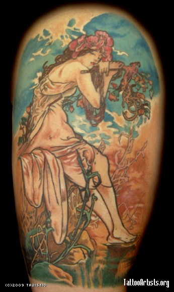 Big colored faded woman with flowers tattoo on shoulder