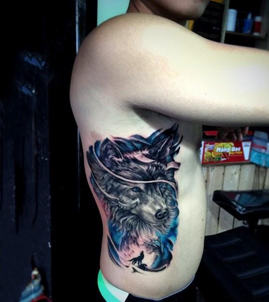 Big colored fantasy wolf tattoo on side