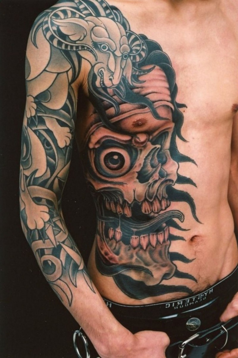 Big colored mystical Japanese traditional skull with fantasy goat