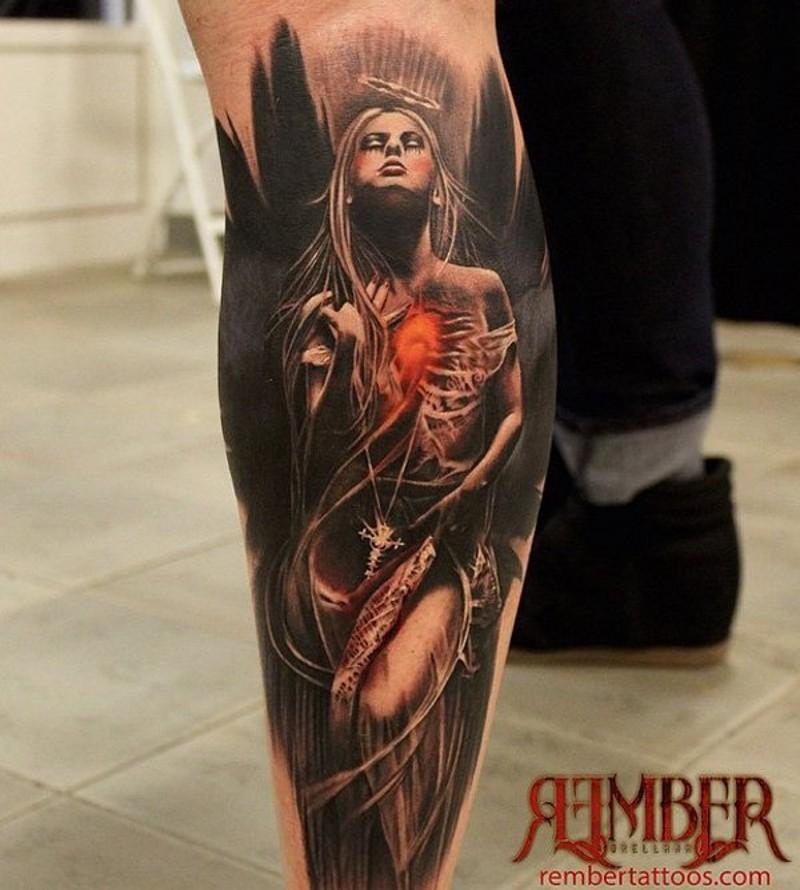 grande colorata mistica donna tatuaggio su gamba