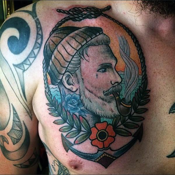 Big colored vintage smoking sailor portrait tattoo on chest
