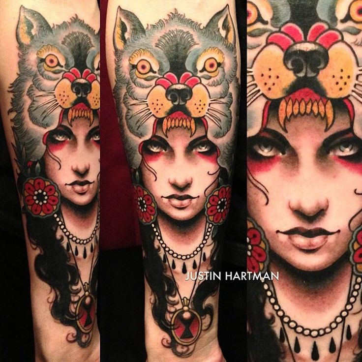 Big colorful very detailed forearm tattoo of gypsy woman portrait