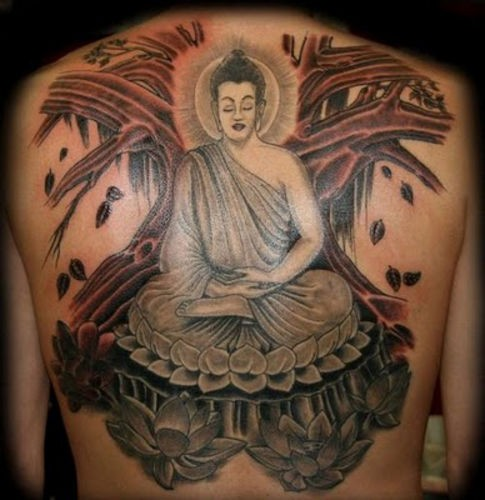 Big coloured meditating buddha tattoo on back