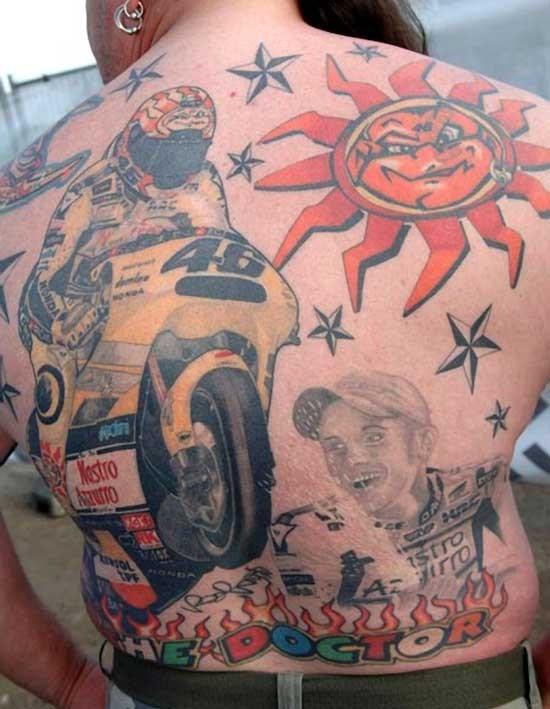 Big coloured on topic bikers tattoo on back