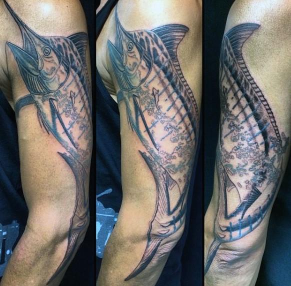 Big detailed ocean hooked fish tattoo on sleeve