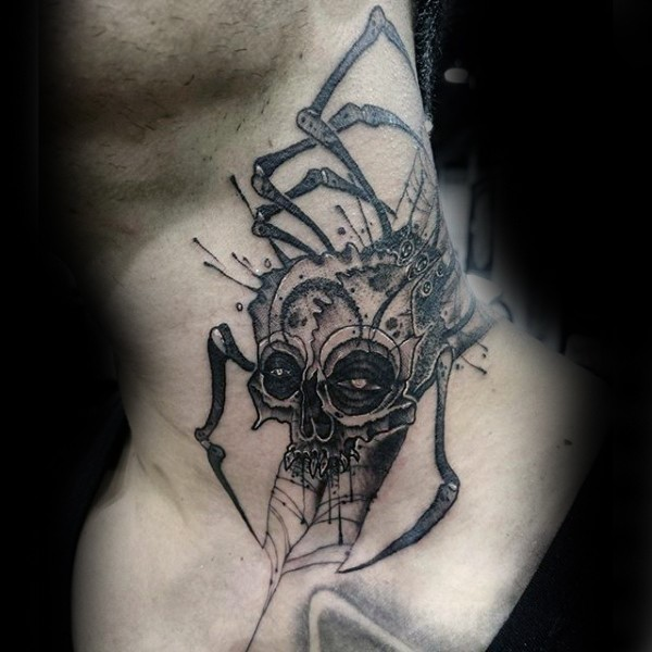 Big engraving style creepy skull with spider legs tattoo on neck