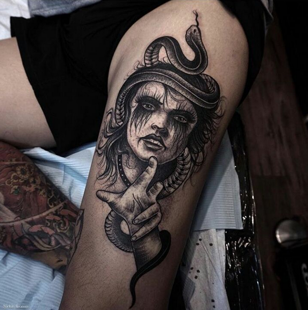 Big engraving style tattoo of fantasy creepy witch with snake