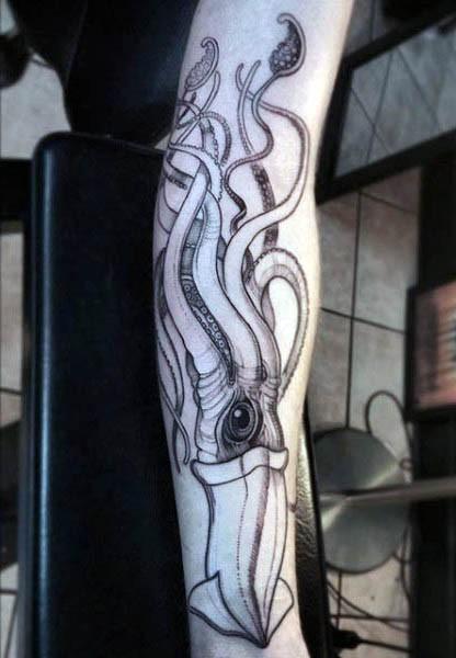 Big fantasy like black ink squid tattoo on arm