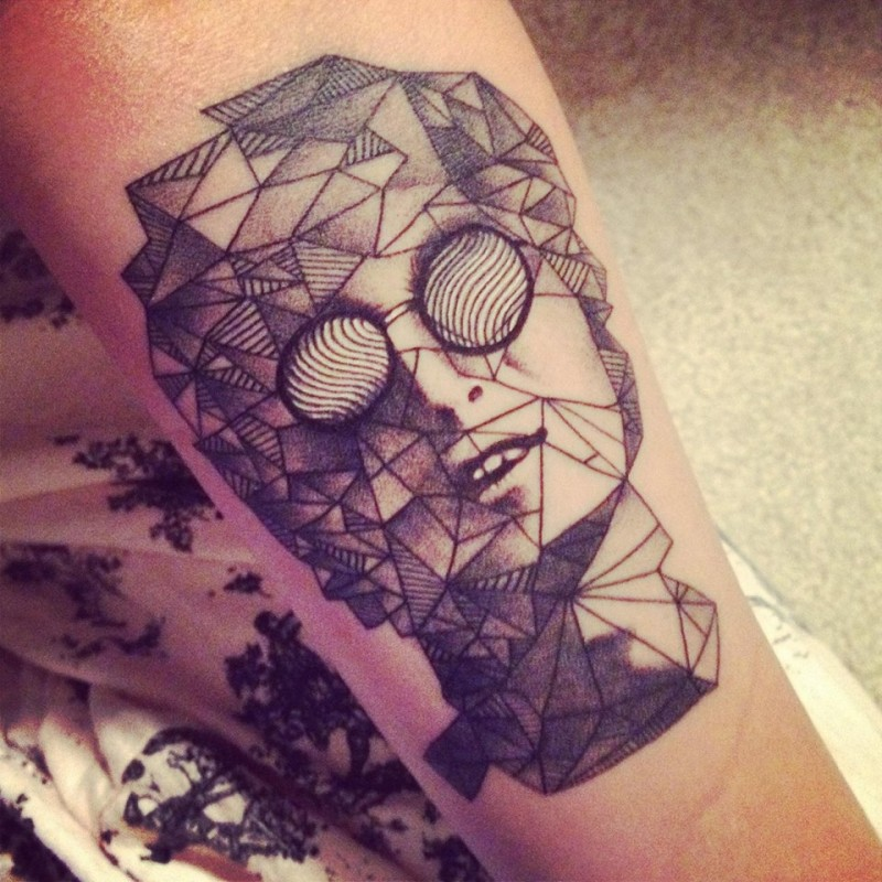 Big Geometrical Style Painted Black Ink John Lennon Portrait Tattoo On Arm Tattooimages Biz