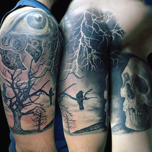 Big gorgeous black and white mystic half sleeve tattoo with crow, lightning and skull