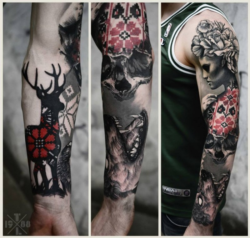 Big half ornamental half 3D sleeve tattoo of mystic woman,deer, skull and wolf