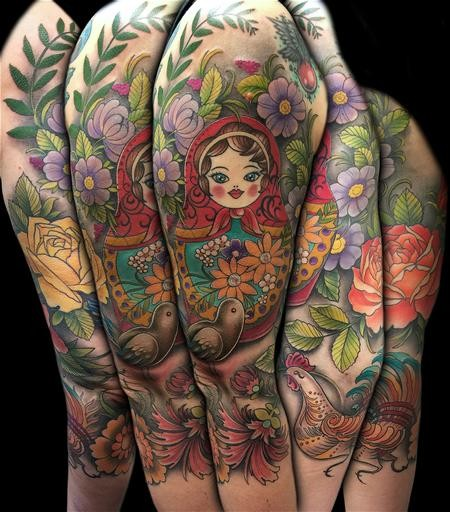 Colored Sleeve Tattoo Of Birds: Big Illustrative Style Colored Matyoska With Flowers And