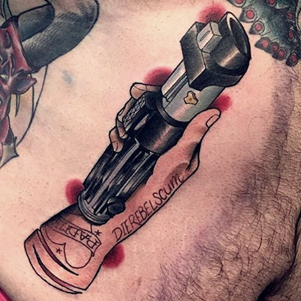 Big interesting detailed colored hand with lightsaber tattoo stylized with lettering