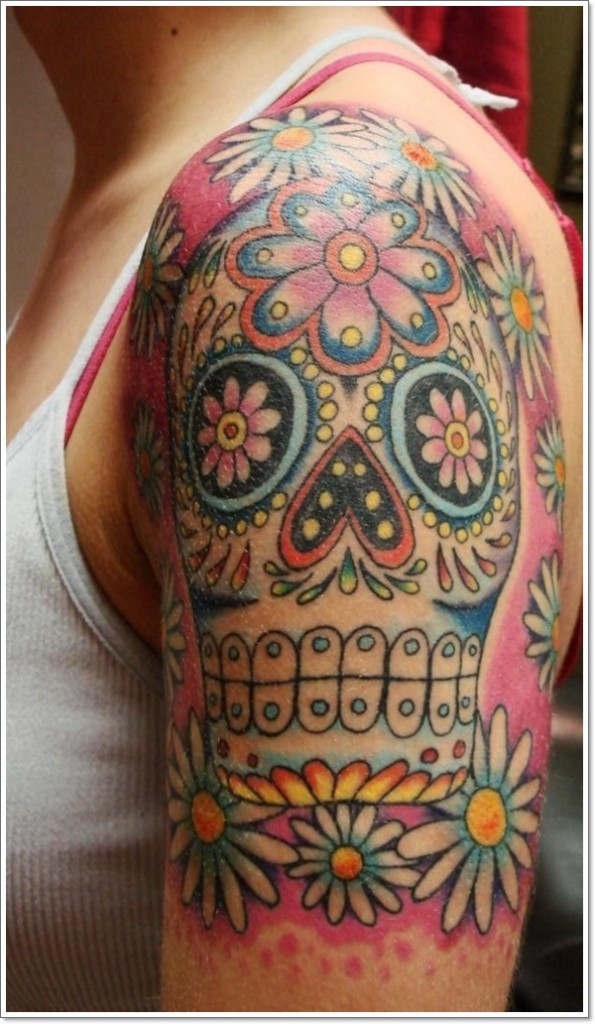 Big mexican sugar skull tattoo on half sleeve