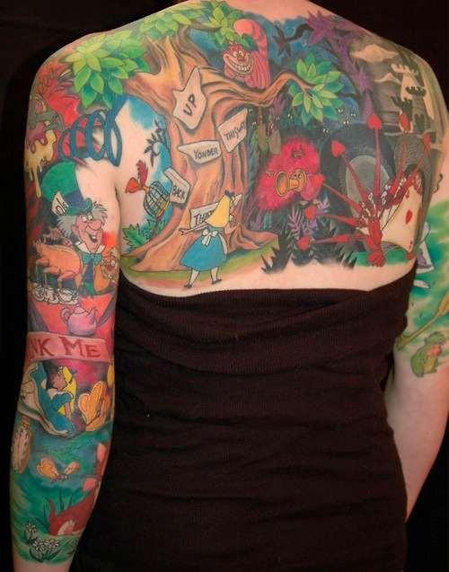 Big multicolored Alice in wonderland cartoon tattoo on sleeve and upper back