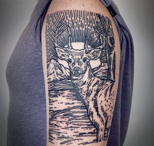 Big multicolored black ink engraving style shoulder tattoo of deer in wild life