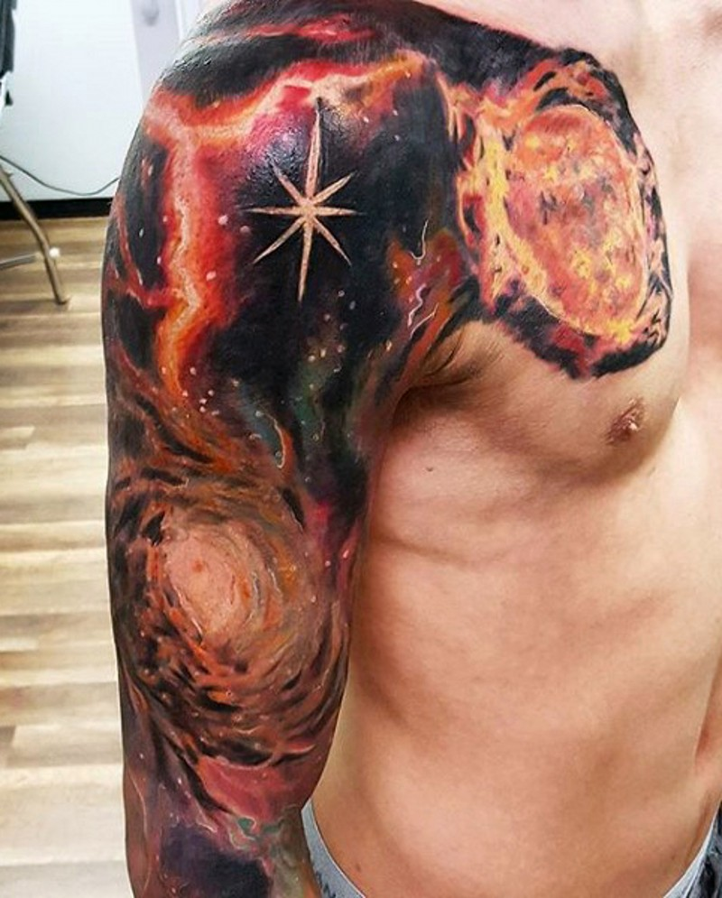 Big multicolored deep space tattoo on sleeve and chest