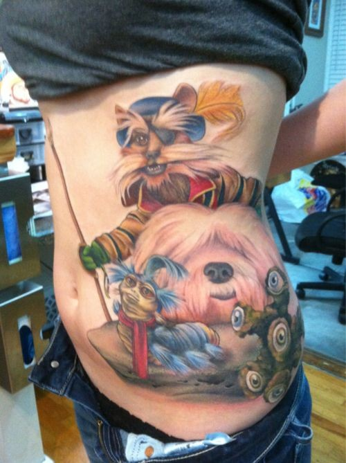Big multicolored funny side tattoo on various fantasy animals and monsters