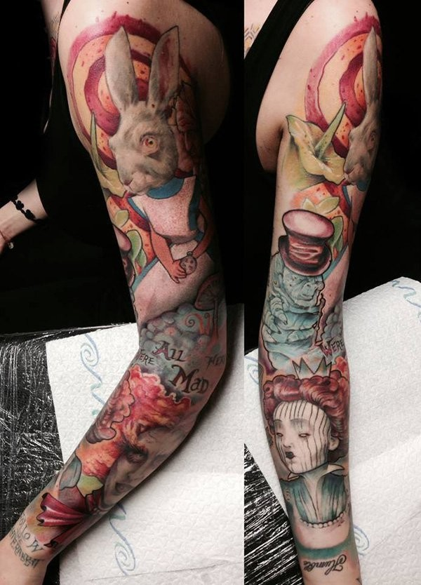 Big multicolored sleeve tattoo of various cartoon heroes