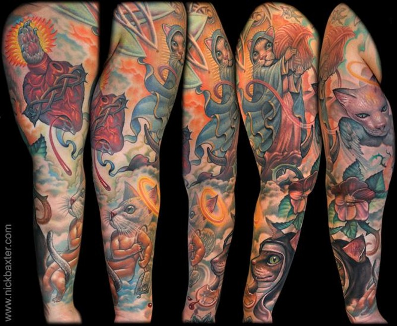 Big multicolored sleeve tattoo of various fantasy cats and human heart