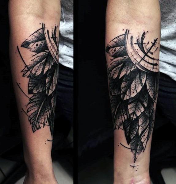 gro er nautischen schwarzer kompass mit feder tattoo am arm. Black Bedroom Furniture Sets. Home Design Ideas