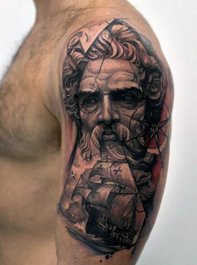 Big Nautical Themed Colored Tattoo With Ship And Poseidon On