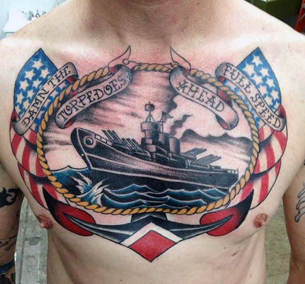 Big nautical themed multicolored tattoo with anchor, lettering and military ship on chest