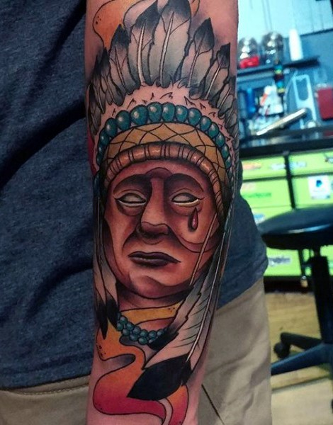 Big nice detailed colored crying Indian portrait tattoo on forearm