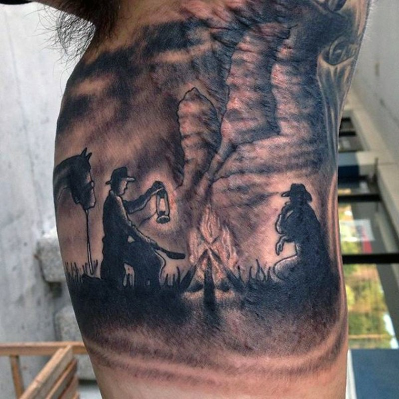 Big nice painted colored western style tattoo on arm