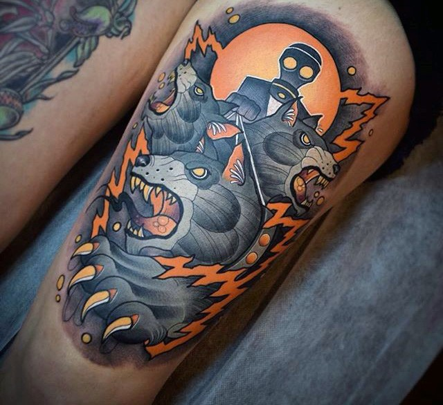 Big old school style colored mystical wolf with man in gas mask tattoo on thigh