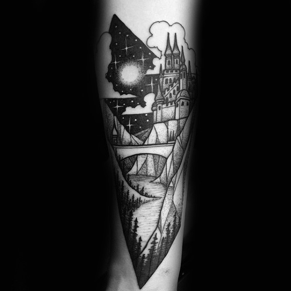 Big picture like fantasy castle tattoo on arm
