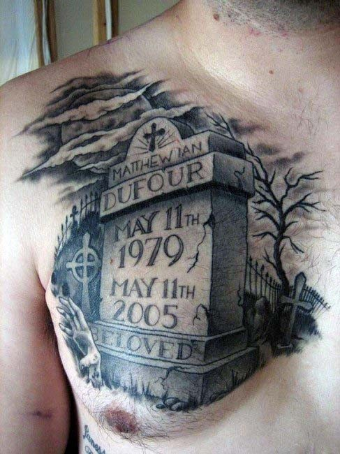 Big realistic black ink tomb stone with lettering tattoo for Stone tattoo letters