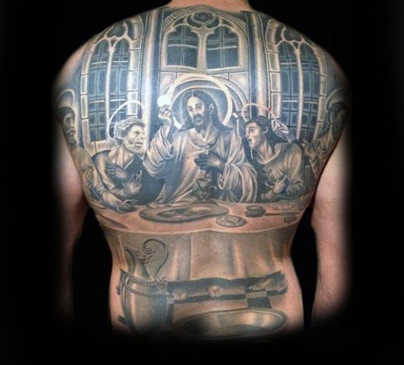 Big realistic looking Lord&quots Supper painting tattoo on upper back