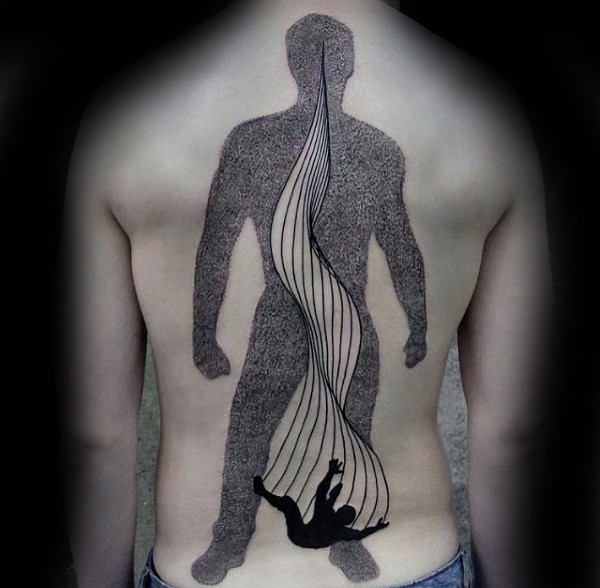 Big stippling style black ink human silhouette tattoo on back