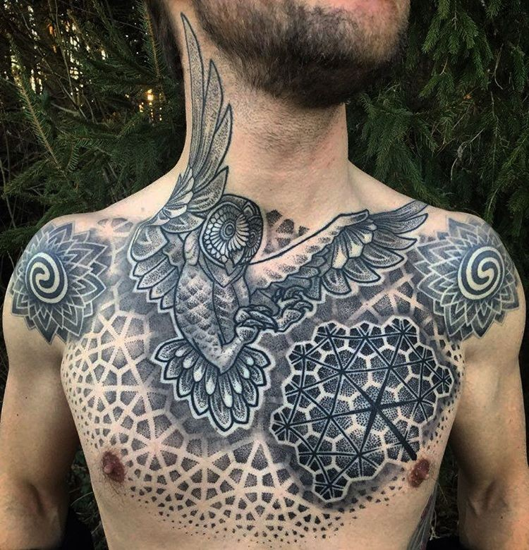 Big Stippling Style Chest Tattoo Of Owl With Flower Shaped