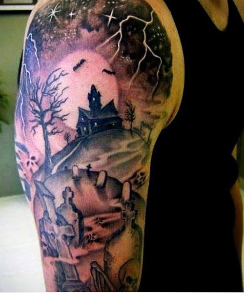 Big terrifying colored mystical church tattoo on shoulder with cemetery and bats
