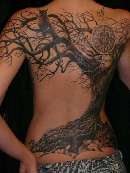 Big tree with owl and compass tattoo on back