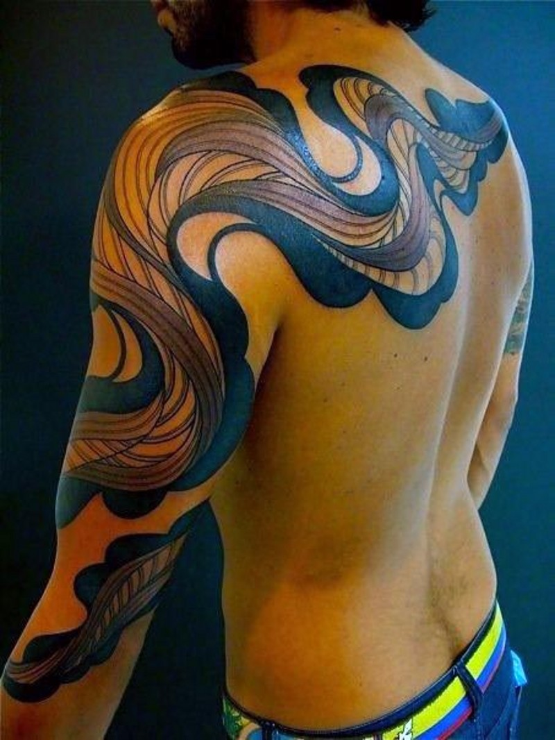 Big tribal style colored mystic ornament tattoo on sleeve and upper back