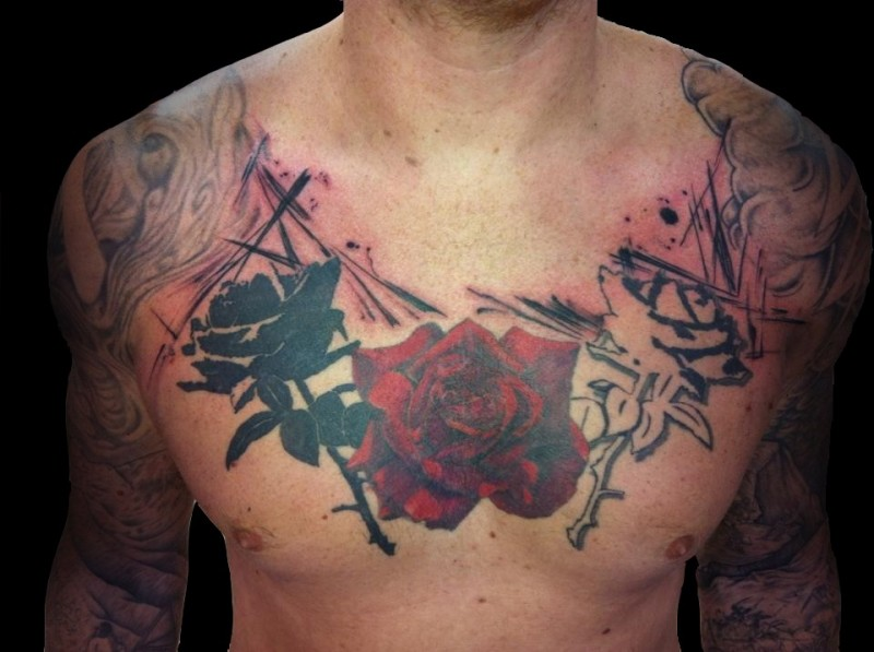 Big unfinished half colored chest tattoo of beautiful roses