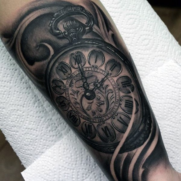 Big very detailed black and white antic clock tattoo on leg