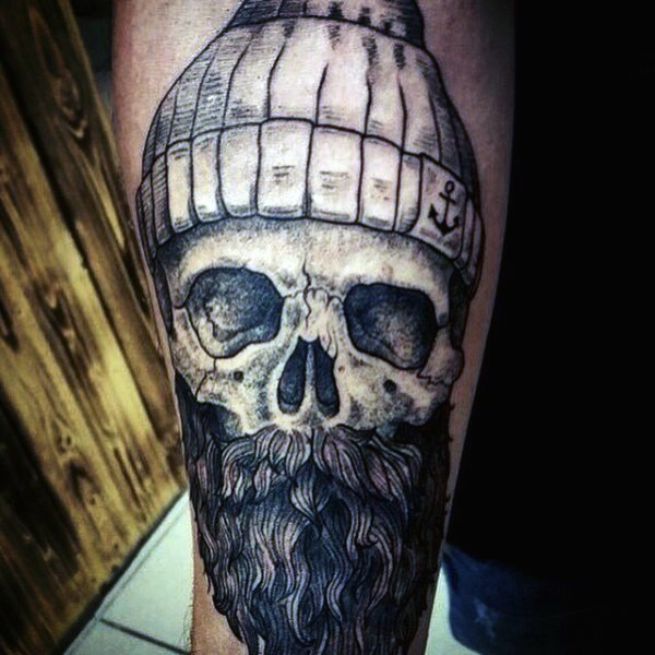 Big Very Detailed Black Ink Sailor Skull With Beard Tattoo On Arm