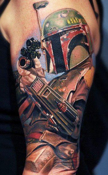 Big very detailed colorful half sleeve tattoo of Boba Fett