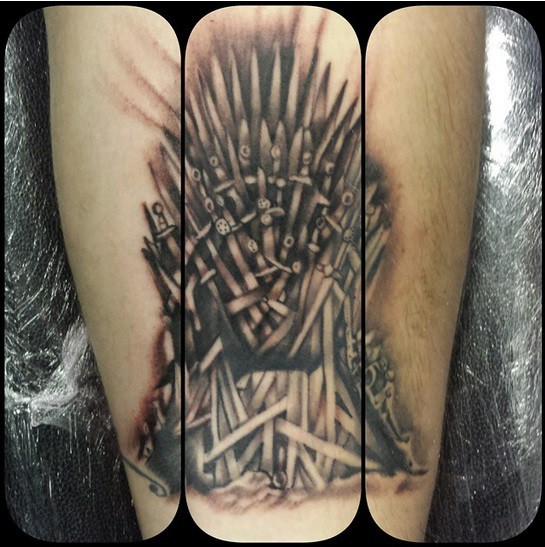 Big very detailed famous TV serial throne tattoo on forearm