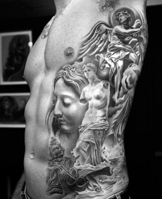 Big very detailed various antic statues tattoo on side
