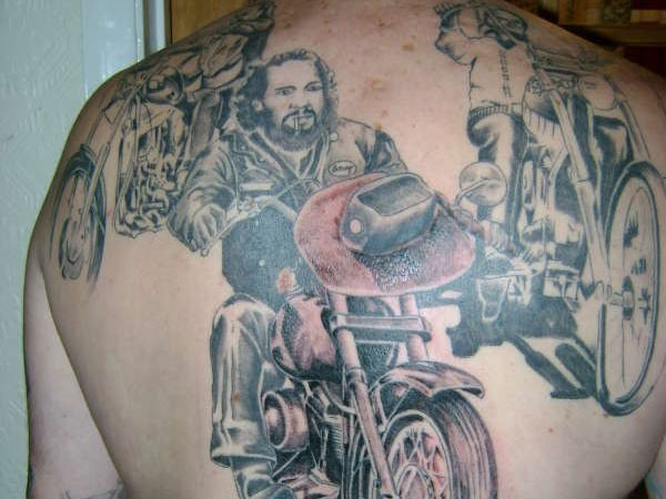Bikers on a motorcycles tattoo on back