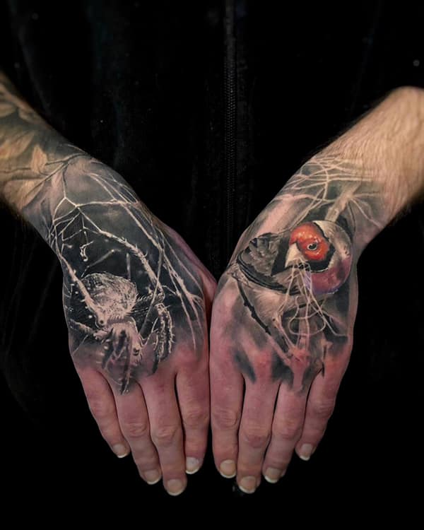 Bird and spider tattoo on hands