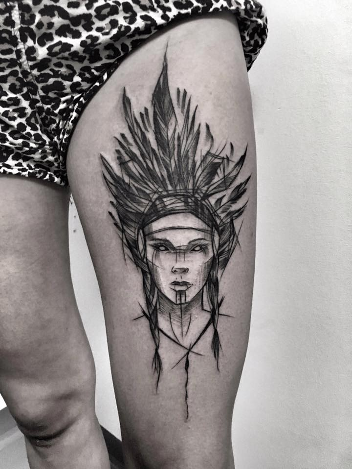 Bit painted by Inez Janiak thigh tattoo of Indian woman