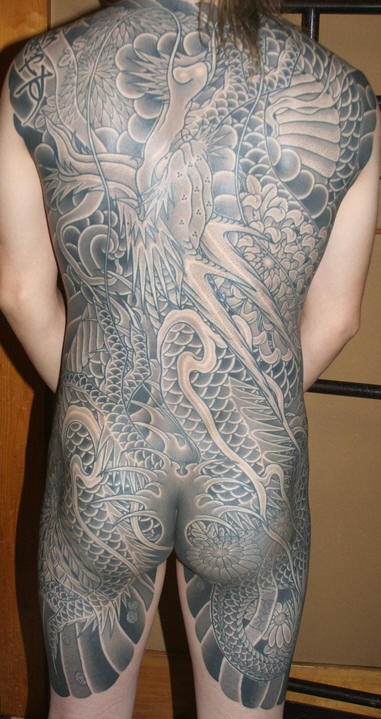 Black And Gray Japanese Dragon Full Body Tattoo