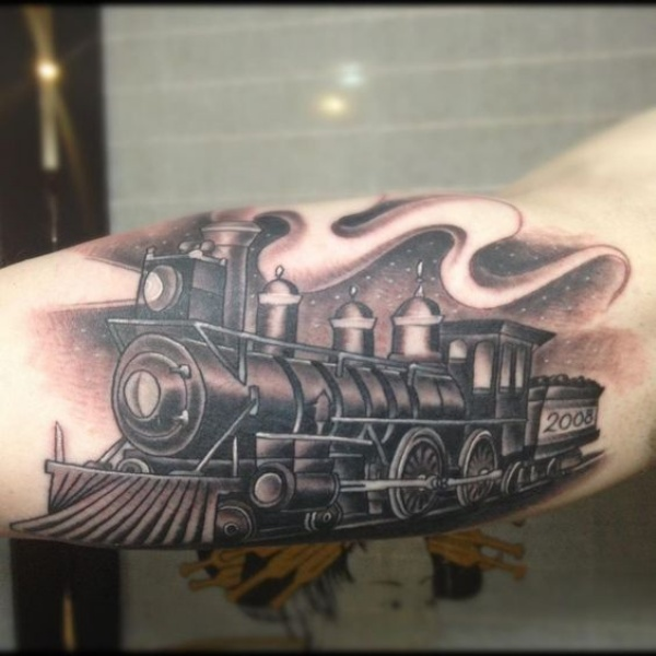 Black and gray style accurate looking train under night sky