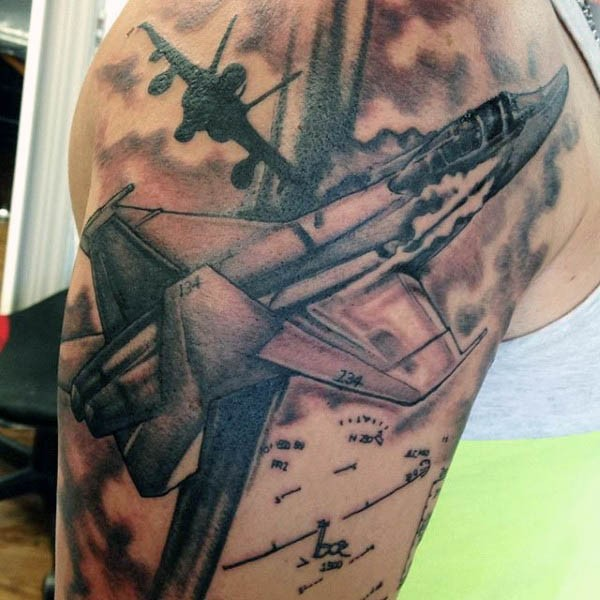 Black and gray style amazing looking shoulder tattoo of modern military planes